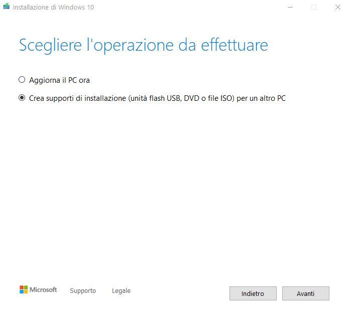 istruzioni installazione windows 10 da usb